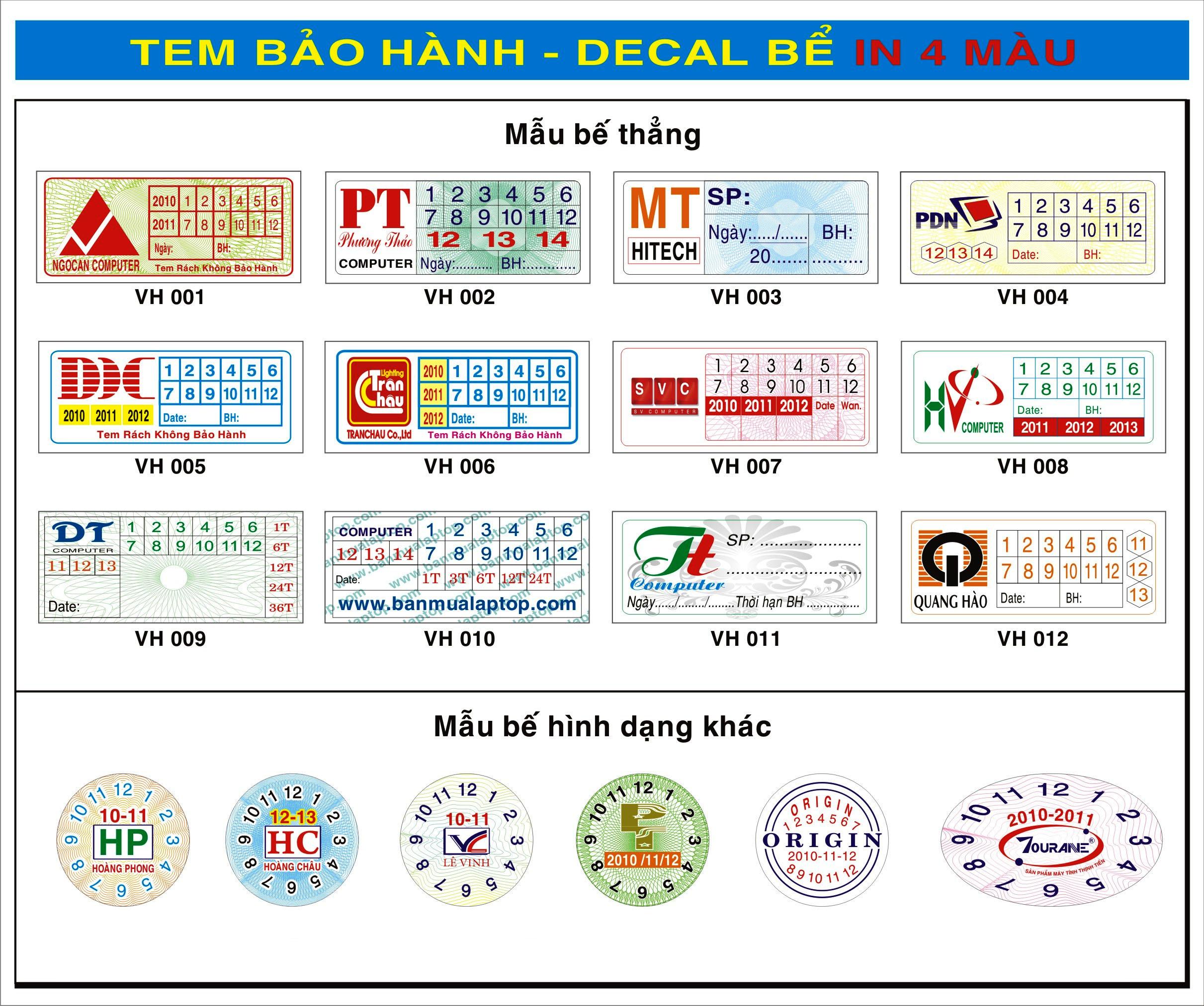 In tem lấy nhanh tại Thanh Xuân. In tem vỡ lấy trong ngày
